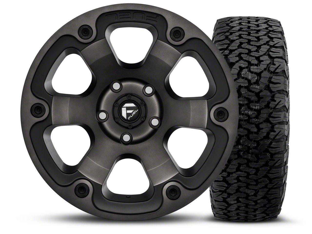 Fuel Wheels Beast Black Machined - 17x9 Wheel - and BF Goodrich All Terrain TA KO2 Tire - 315/70R17 (07-18 Jeep Wrangler JK)