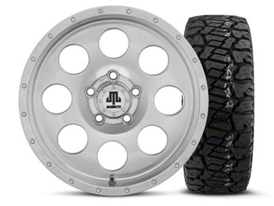 Mammoth 8 Beadlock Style Polished 15x8 Wheel & Dick Cepek Fun Country 33X12.50R15 Tire Kit (87-06 Jeep Wrangler YJ & TJ)
