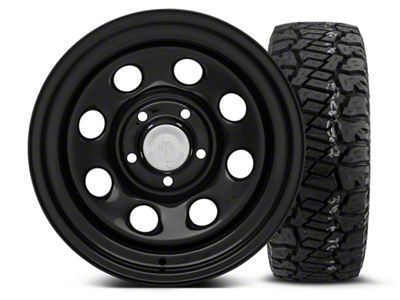 Mammoth 8 Black Steel 15x8 Wheel & Dick Cepek Fun Country 33X12.50R15 Tire Kit (87-06 Jeep Wrangler YJ & TJ)