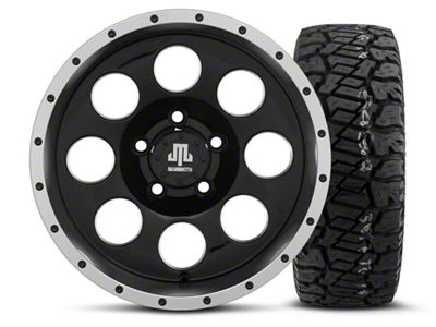 Mammoth 8 Beadlock Style Black 15x8 Wheel & Dick Cepek Fun Country 33X12.50R15 Tire Kit (87-06 Jeep Wrangler YJ & TJ)