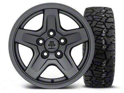Mammoth Boulder Charcoal 15x8 Wheel & Dick Cepek Fun Country 33X12.50R15 Tire Kit (87-06 Jeep Wrangler YJ & TJ)