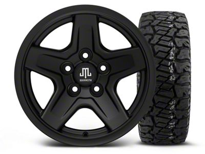 Mammoth Boulder Black 15x8 Wheel & Dick Cepek Fun Country 33X12.50R15 Tire Kit (87-06 Jeep Wrangler YJ & TJ)