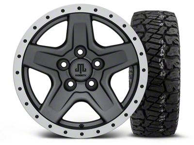 Mammoth Boulder Beadlock Style Charcoal 15x8 Wheel & Dick Cepek Fun Country 33X12.50R15 Tire Kit (87-06 Jeep Wrangler YJ & TJ)
