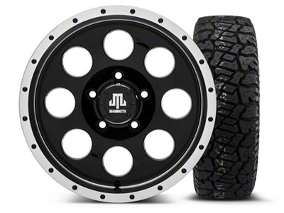 Mammoth 8 Beadlock Style Black - 16x8 Wheel - and Dick Cepek Fun Country Tire - 265/75R16 (07-18 Jeep Wrangler JK)