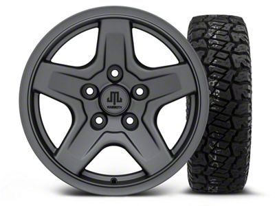 Mammoth Boulder Charcoal - 16x8 Wheel - and Dick Cepek Fun Country Tire - 265/75R16 (07-18 Jeep Wrangler JK)