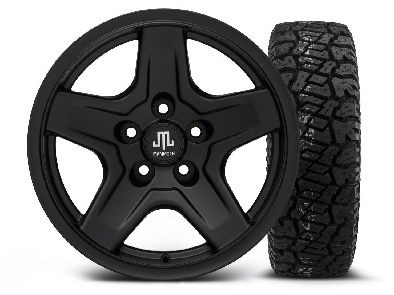 Mammoth Boulder Black 16x8 Wheel & Dick Cepek Fun Country 265/75R16 Tire Kit (87-06 Jeep Wrangler YJ & TJ)