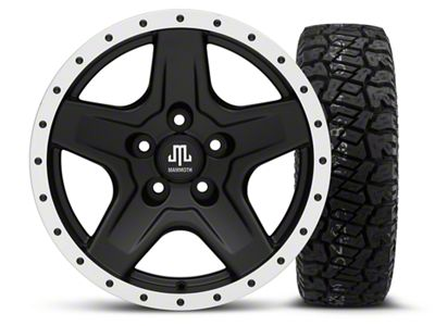 Mammoth Boulder Beadlock Style Black 16x8 Wheel & Dick Cepek Fun Country 265/75R16 Tire Kit (87-06 Jeep Wrangler YJ & TJ)
