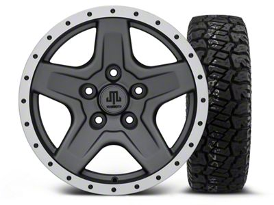 Mammoth Boulder Beadlock Style Charcoal - 16x8 Wheel - and Dick Cepek Fun Country Tire - 265/75R16 (07-18 Jeep Wrangler JK)
