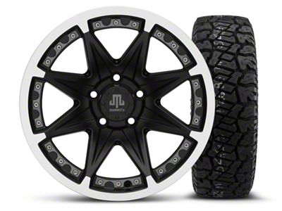 Mammoth Type 88 Black 16x8 Wheel & Dick Cepek Fun Country 265/75R16 Tire Kit (87-06 Jeep Wrangler YJ & TJ)