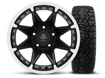 Mammoth Type 88 Black - 16x8 Wheel - and Dick Cepek Fun Country Tire - 265/75R16 (07-18 Jeep Wrangler JK)