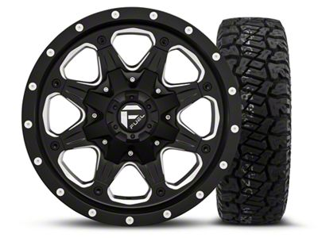 Fuel Wheels Boost - Black/Milled 16x8 Wheel - and Dick Cepek Fun Country Tire - 265/75R16 (07-18 Jeep Wrangler JK; 2018 Jeep Wrangler JL)