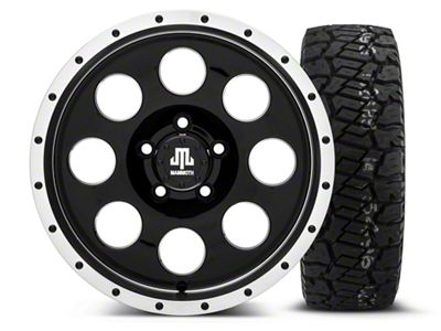 Mammoth 8 Beadlock Style Black 16x8 Wheel & Dick Cepek Fun Country 285/75R16 Tire Kit (87-06 Jeep Wrangler YJ & TJ)
