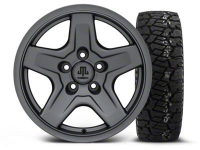 Mammoth Boulder Charcoal 16x8 Wheel & Dick Cepek Fun Country 285/75R16 Tire Kit (87-06 Jeep Wrangler YJ & TJ)