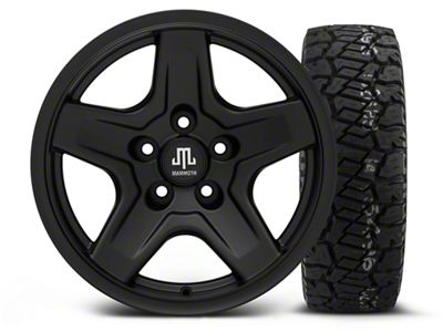 Mammoth Boulder Black 16x8 Wheel & Dick Cepek Fun Country 285/75R16 Tire Kit (87-06 Jeep Wrangler YJ & TJ)