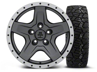 Mammoth Boulder Beadlock Style Charcoal 16x8 Wheel & Dick Cepek Fun Country 285/75R16 Tire Kit (87-06 Jeep Wrangler YJ & TJ)