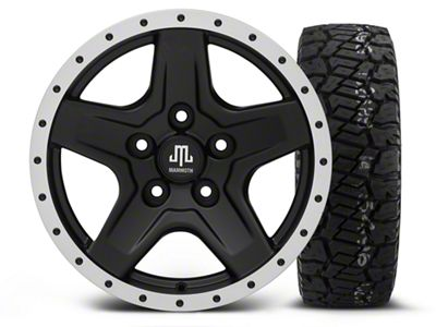 Mammoth Boulder Beadlock Style Black - 16x8 Wheel - and Dick Cepek Fun Country Tire - 285/75R16 (07-18 Jeep Wrangler JK)