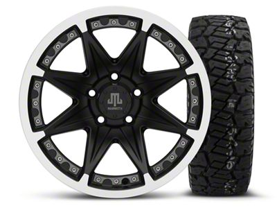 Mammoth Type 88 Black 16x8 Wheel & Dick Cepek Fun Country 285/75R16 Tire Kit (87-06 Jeep Wrangler YJ & TJ)