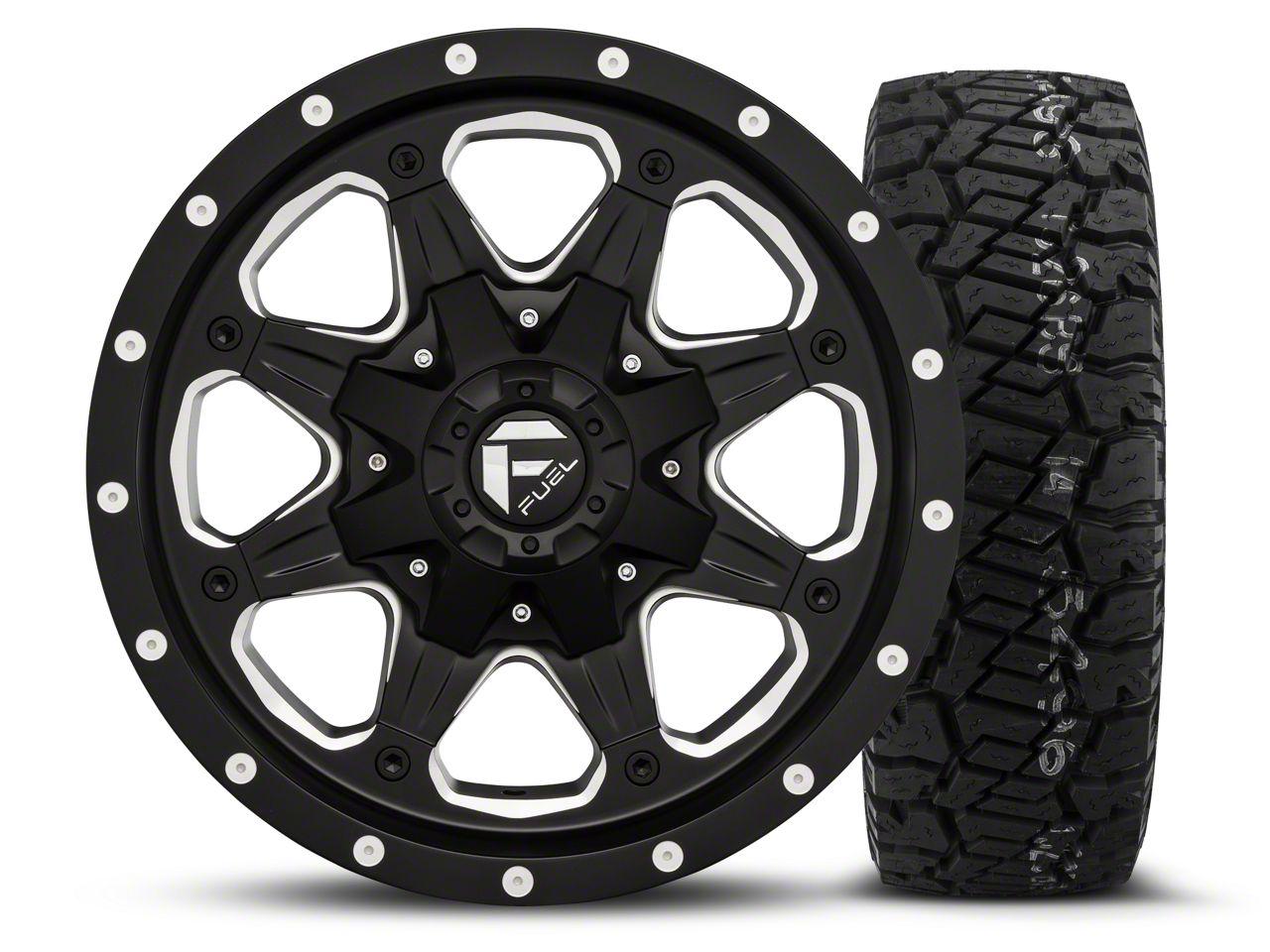 Fuel Wheels Boost - Black/Milled 16x8 Wheel - and Dick Cepek Fun Country Tire - 285/75R16 (07-18 Jeep Wrangler JK; 2018 Jeep Wrangler JL)