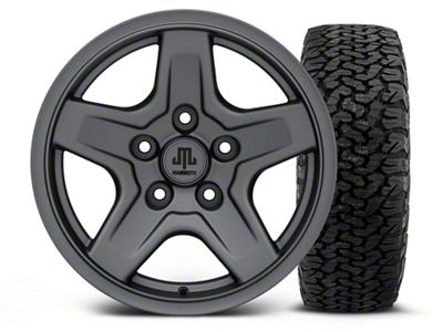 Mammoth Boulder Charcoal - 16x8 Wheel - and Dick Cepek Fun Country Tire - 315/75R16 (07-18 Jeep Wrangler JK)