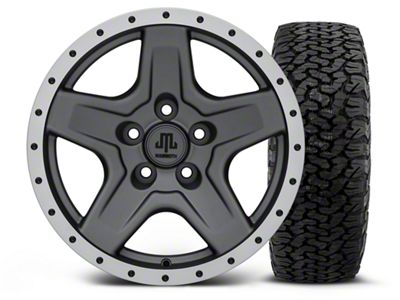 Mammoth Boulder Beadlock Style Charcoal 16x8 Wheel & Dick Cepek Fun Country 315/75R16 Tire Kit (87-06 Jeep Wrangler YJ & TJ)
