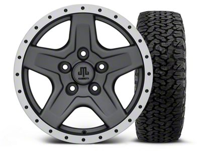 Mammoth Boulder Beadlock Style Charcoal - 16x8 Wheel - and Dick Cepek Fun Country Tire - 315/75R16 (07-18 Jeep Wrangler JK)