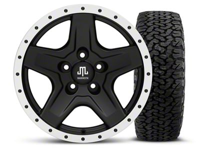Mammoth Boulder Beadlock Style Black 16x8 Wheel & Dick Cepek Fun Country 315/75R16 Tire Kit (87-06 Jeep Wrangler YJ & TJ)