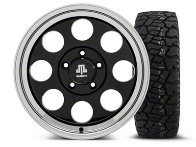Mammoth 8 Black - 17x9 Wheel - and Dick Cepek Fun Country Tire - 285/70R17 (07-18 Jeep Wrangler JK)