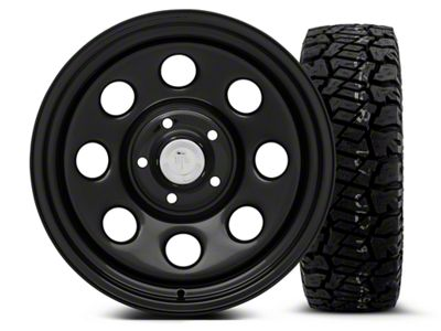 Mammoth 8 Black Steel - 17x9 Wheel - and Dick Cepek Fun Country Tire - 285/70R17 (07-18 Jeep Wrangler JK)