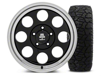 Mammoth 8 Black - 17x9 Wheel - and Dick Cepek Fun Country Tire - 315/70R17 (07-18 Jeep Wrangler JK)