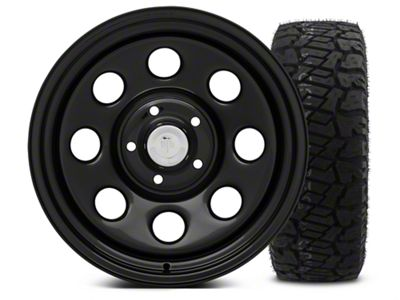 Mammoth 8 Black Steel - 17x9 Wheel - and Dick Cepek Fun Country Tire - 315/70R17 (07-18 Jeep Wrangler JK)