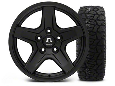 Mammoth Boulder Black - 17x9 Wheel - and Dick Cepek Fun Country Tire - 315/70R17 (07-18 Jeep Wrangler JK)