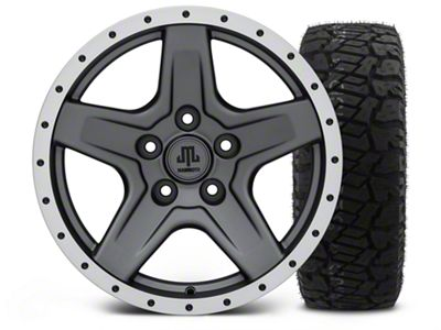 Mammoth Boulder Beadlock Style Charcoal - 17x9 Wheel - and Dick Cepek Fun Country Tire - 315/70R17 (07-18 Jeep Wrangler JK)