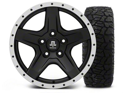 Mammoth Boulder Beadlock Style Black - 17x9 Wheel - and Dick Cepek Fun Country Tire - 315/70R17 (07-18 Jeep Wrangler JK)