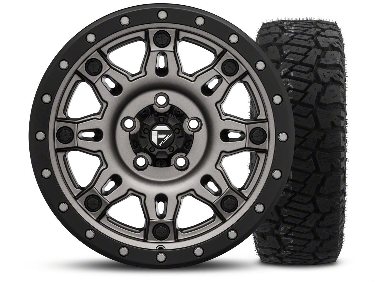 Fuel Wheels Hostage III Gunmetal and Black - 17x9 Wheel - and Dick Cepek Fun Country Tire - 315/70R17 (07-18 Jeep Wrangler JK)