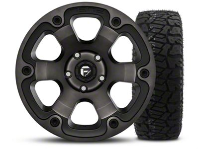 Fuel Wheels Beast Black Machined - 17x9 Wheel - and Dick Cepek Fun Country Tire - 315/70R17 (07-18 Jeep Wrangler JK)