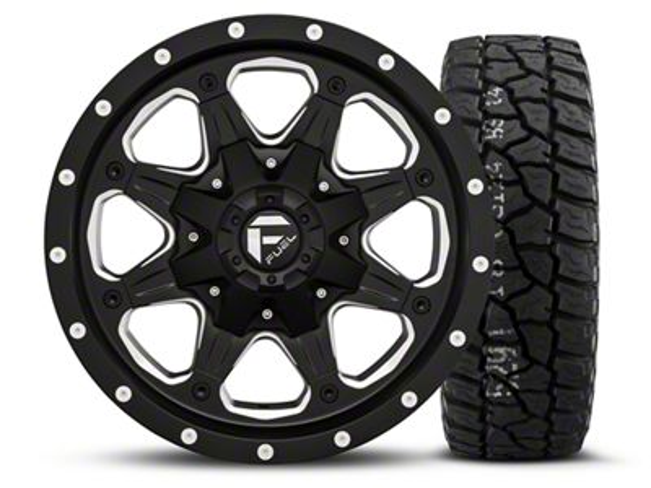 Fuel Wheels Boost - Black/Milled 16x8 Wheel - and Mickey Thompson Baja ATX P3 Tire - 315/75R16 (07-18 Jeep Wrangler JK)