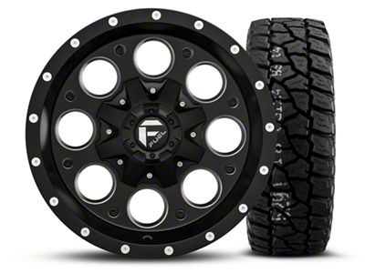 Fuel Wheels Revolver - Black/Milled 16x8 Wheel - and Mickey Thompson Baja ATX P3 Tire - 315/75R16 (07-18 Jeep Wrangler JK)