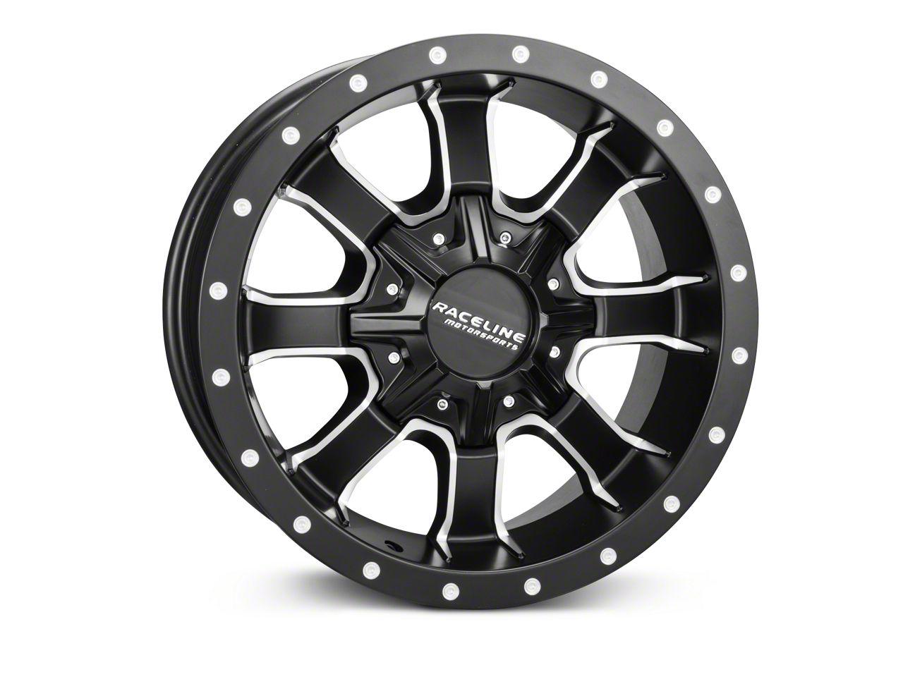 Raceline Mamba Black Milled Wheel - 20x9 (07-18 Jeep Wrangler JK; 2018 Jeep Wrangler JL)