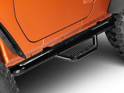 N-Fab Wheel to Wheel Nerf Side Step Bars - Gloss Black (07-11 Jeep Wrangler JK 2 Door)