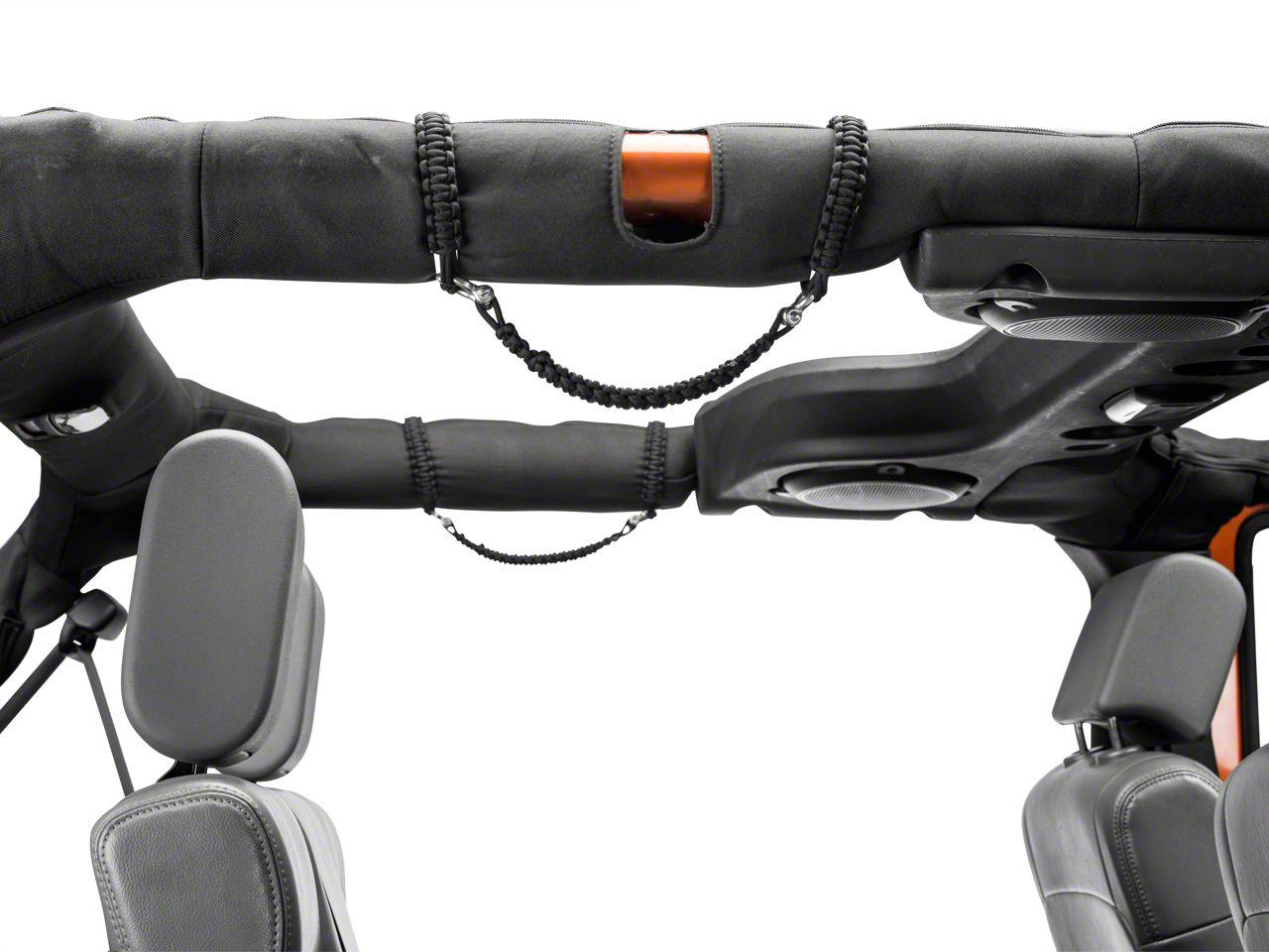 RedRock 4x4 Rear Rollbar Paracord Grab Handles with D-rings - Black (07-18 Jeep Wrangler JK 4 Door)