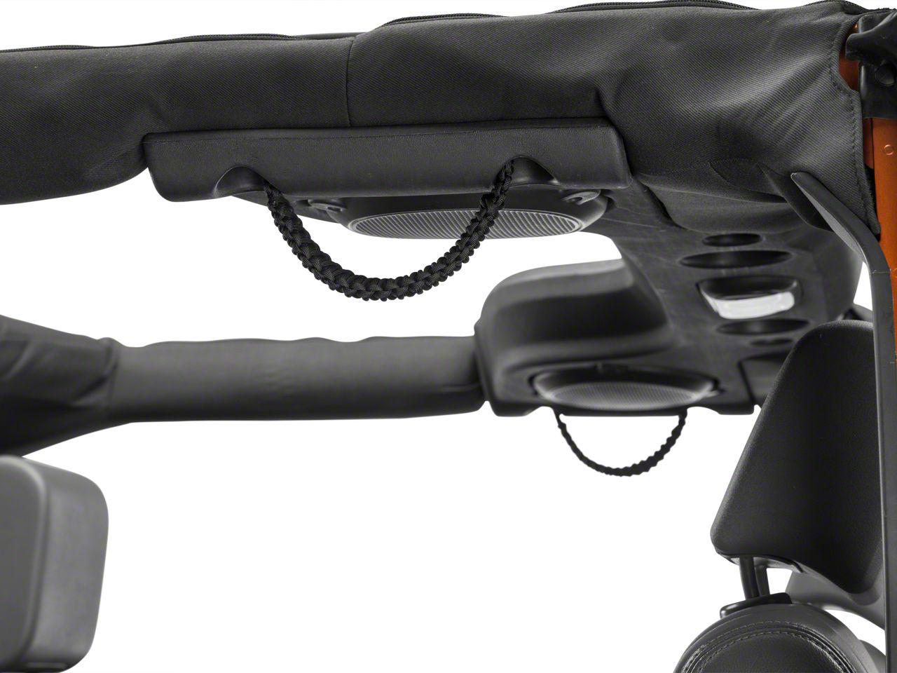 RedRock 4x4 Rear Soundbar Paracord Grab Handles - Black (07-18 Jeep Wrangler JK 4 Door; 18-19 Jeep Wrangler JL 4 Door)
