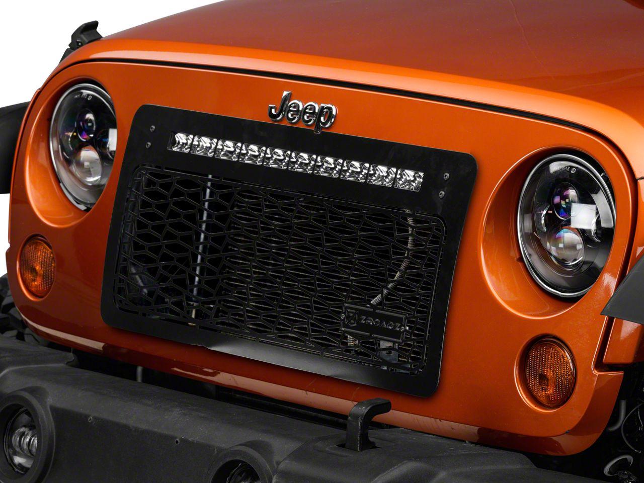 T-REX ZROADZ Series Grille w/ 20 in. Top Mounted Slim LED Light Bar (07-18 Jeep Wrangler JK)