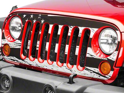 Distressed Black and White American Flag Grille Decal (07-18 Jeep Wrangler JK)
