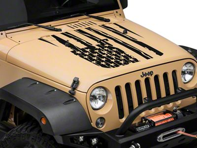 Distressed American Flag Hood Decal - Matte Black (07-18 Jeep Wrangler JK)