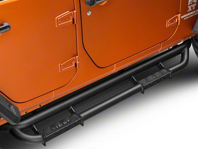 RBP RX-3 Cab Length Side Step Bars - Black (07-18 Jeep Wrangler JK 4 Door)