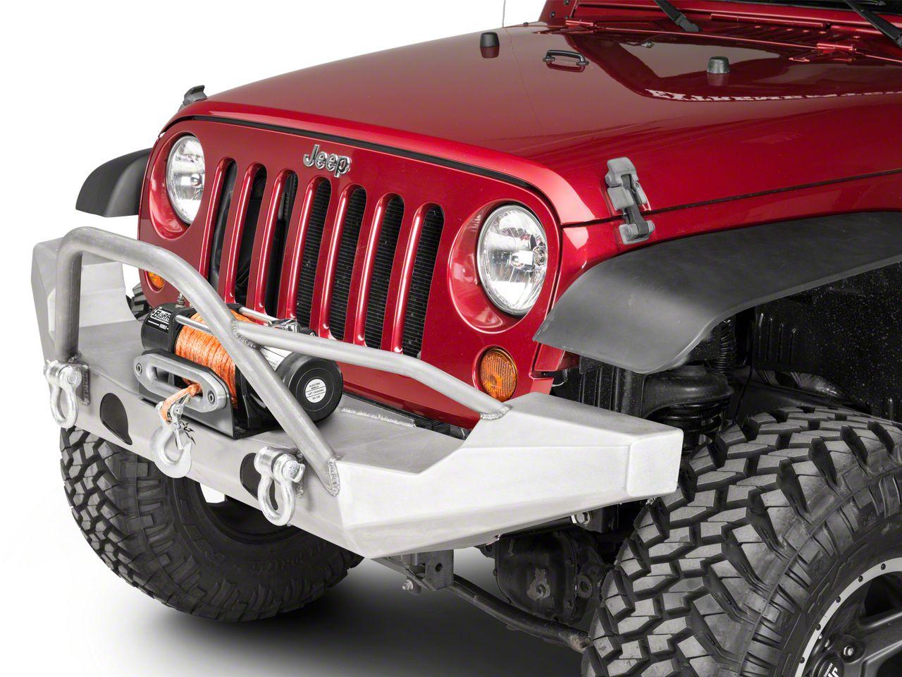 Poison Spyder Brawler Full Width Front Bumper w/ Brawler Bar & Tube Gussett - Bare Steel (07-18 Jeep Wrangler JK)