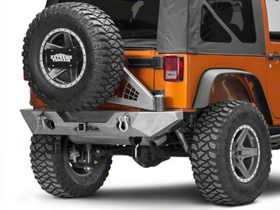 Poison Spyder RockBrawler II Rear Bumper w/ Tire Carrier - Bare Steel (07-18 Jeep Wrangler JK)