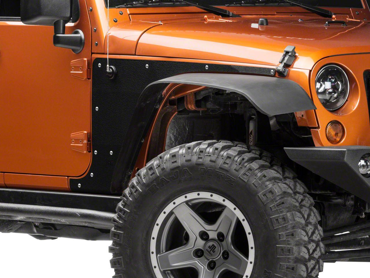 Smittybilt Front XRC Body Armor Skins - Textured Matte Black (07-18 Jeep Wrangler JK)