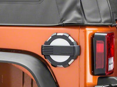Rugged Ridge Elite Non-Locking Fuel Door - Brushed Aluminum (07-18 Jeep Wrangler JK)