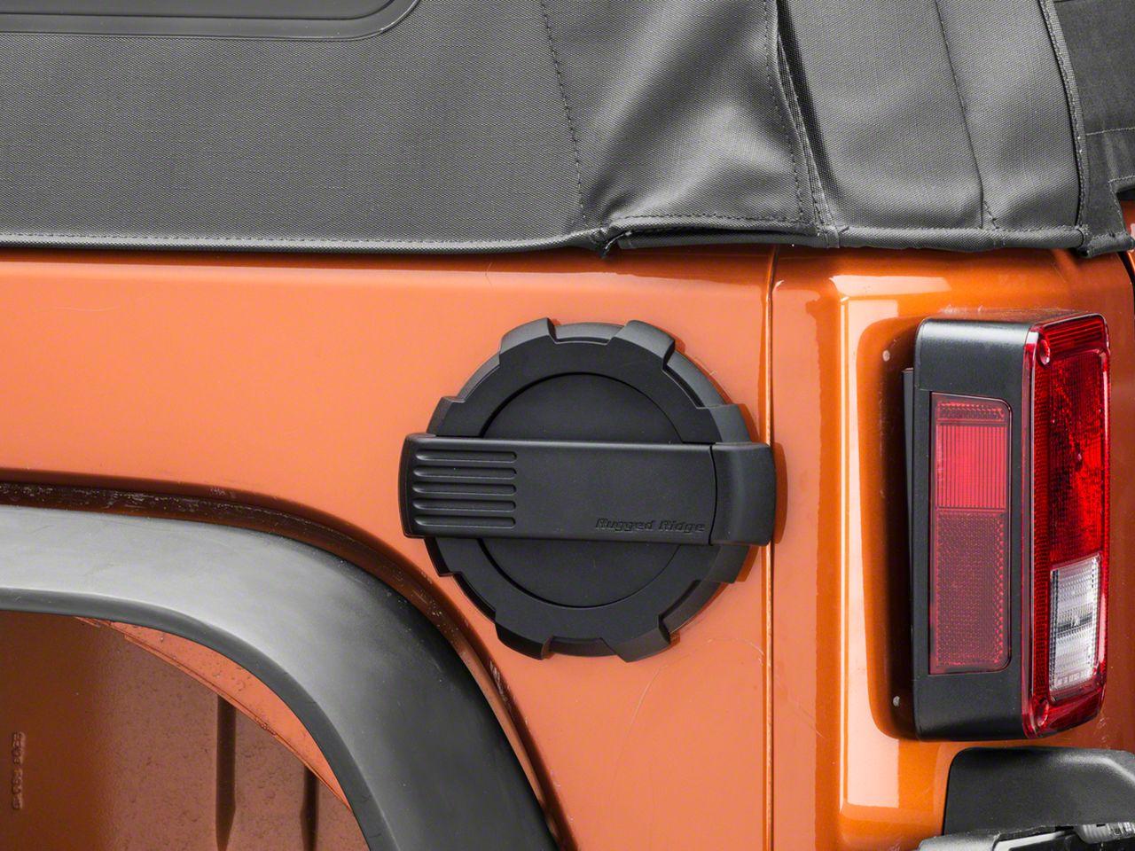 Rugged Ridge Elite Non-Locking Fuel Door - Black (07-18 Jeep Wrangler JK)